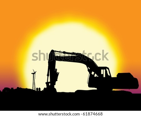 Backhoe with big yellow sunset and farm setting with copy space - stock photo