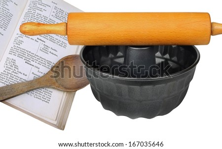 Backing book with utensils - stock photo