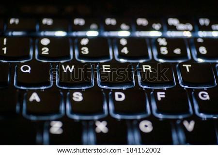 Backlit keyboard - stock photo