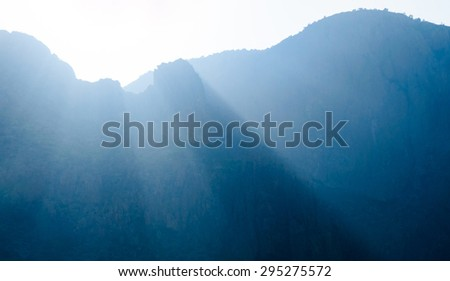 Backlit Mountain at Big Bend National Park - stock photo