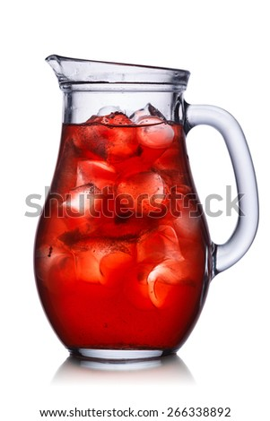 Backlit pitcher with iced drink. Marsala colored, isolated,easy fits to dark and light backgrounds. - stock photo
