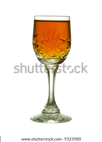 Backlit sherry in cut crystal glass, backlit and  isolated on white