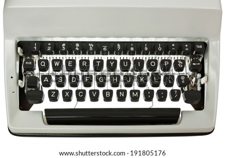 Backlit Typewriter keyboard. White text on black keys. Isolated on white with clipping path - stock photo