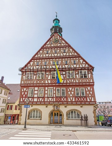 Backnang, Germany - April 3, 2016: City center with historical townhall and half-timbered houses
