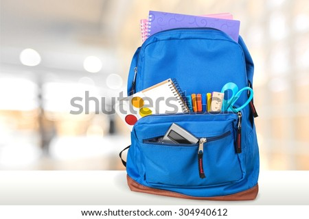 Backpack. - stock photo