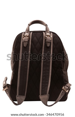 backpack, bag, leather backpack, leather bag, brown bag with a pocket, isolated on a white background with a clipping mask