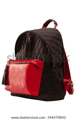 backpack, bag, leather backpack, leather bag, brown bag with a red pocket, isolated on a white background with a clipping mask