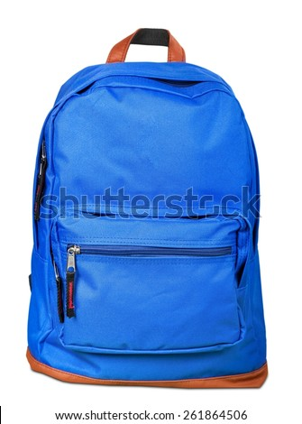 Backpack. Red backpack standing isolated on white background - stock photo
