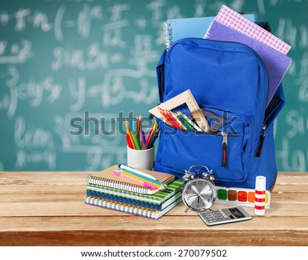 Backpack, school, isolated. - stock photo