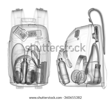 Backpack under xray on security control black and white - stock photo