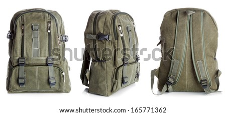 Backpack with clipping path on white background - stock photo