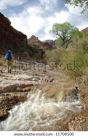 Backpackers, Grand Canyon National Park, Arizona - stock photo