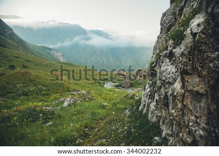 Backpacking in the mountains in the Caucasus Arkhyz in Russia