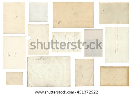 Backside from vintage Photo Paper Sheets isolated on white background - stock photo