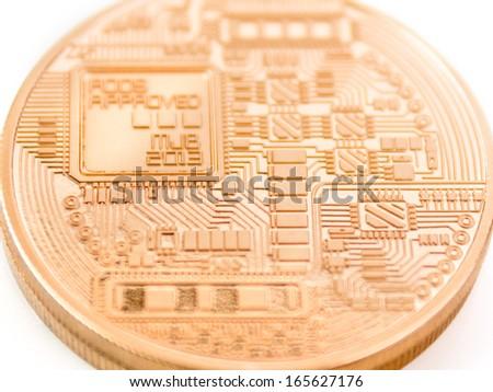 backside of a bitcoin coin - bit coin BTC the new virtual money - stock photo