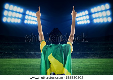 Backside of expressive brazilian fans celebrating the competition time at field - stock photo