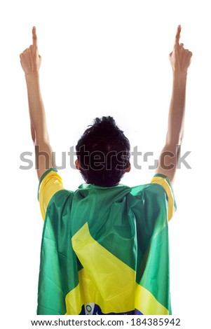 Backside of expressive brazilian fans celebrating the competition time isolated on white - stock photo