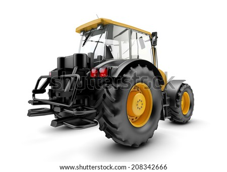 Backside of Modern powerful farm tractor isolated on white background