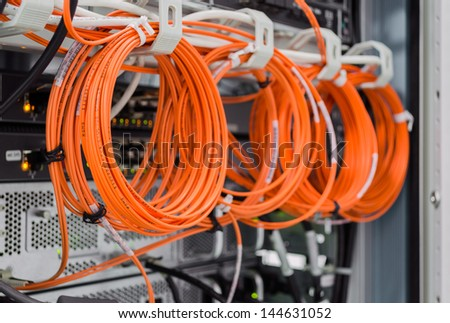 Backside of server rack - stock photo