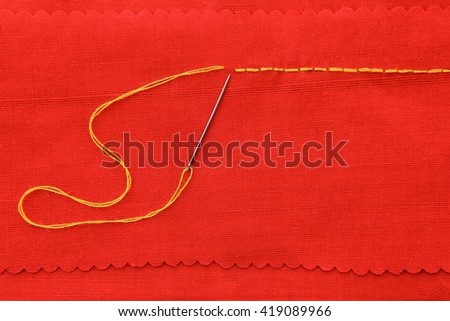 Backstitch hand sewing background.
