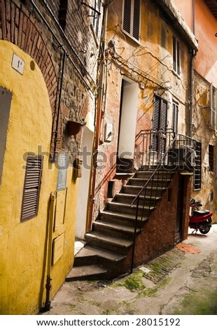 Backstreet. Old Italian City Under The Sunlight. - stock photo