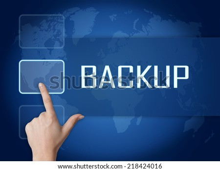 Backup concept with interface and world map on blue background - stock photo