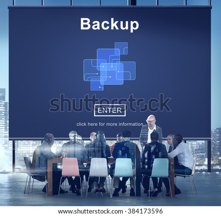 Backup Data Storage Database Restore Safety Security Concept - stock photo