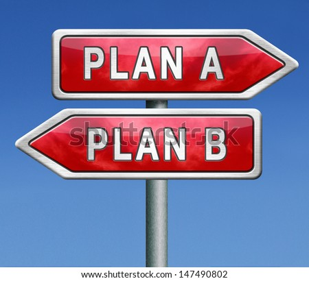 backup plan a or B alternative strategy or different possible strategies road sign arrow - stock photo