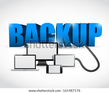 Backup sign connected to electronics. illustration design over white - stock photo