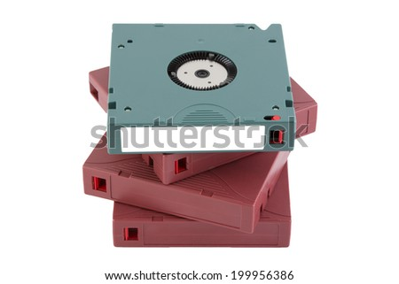 Backup tape for data recovery in server room isolated on white background. - stock photo