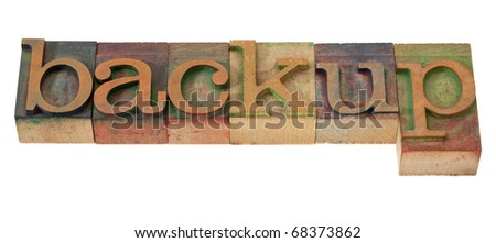 backup - word in vintage wooden letterpress printing blocks, stained with color inks, isolated on white