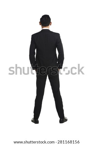 Backview asian business man isolated over white background