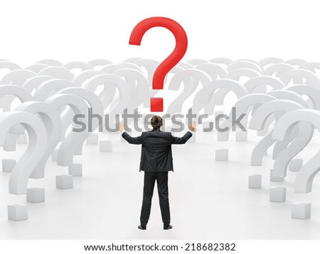 Backview of businessman with hands up trying to make a choice. Concept of leadership and success - stock photo
