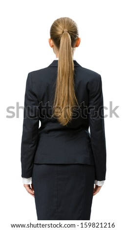 Backview of businesswoman, isolated on white. Concept of leadership and success