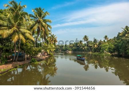 Backwaters of Kerala, India - stock photo