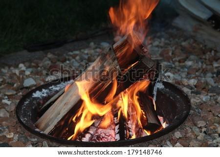 backyard fire pit - stock photo