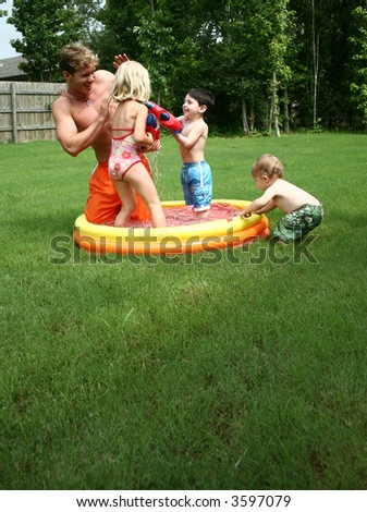 Backyard fun in the pool with the kids.