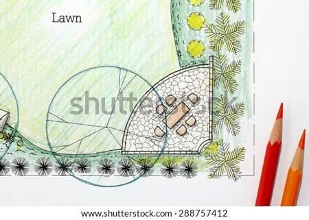 Backyard garden design plan. - stock photo