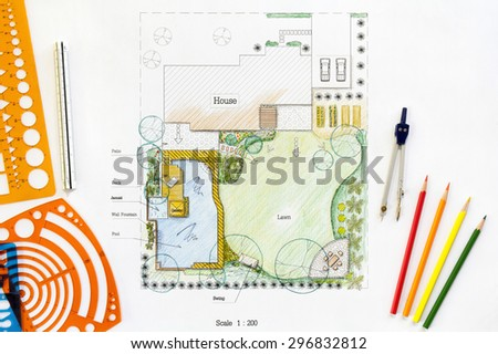 Backyard garden plan in design - stock photo