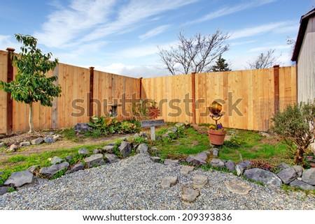 Backyard landscape design. - stock photo