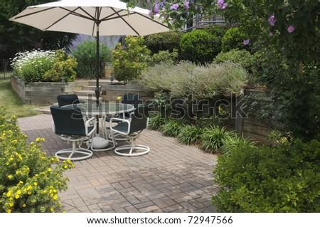 Backyard Patio - stock photo