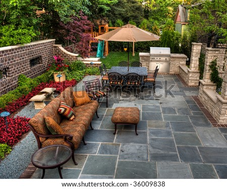 Backyard Patio in Garden - stock photo
