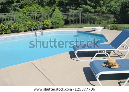 Backyard Swimming Pool Retreat - stock photo