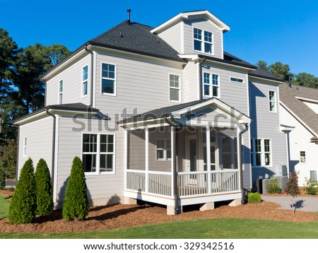 Backyard view of suburban house - stock photo