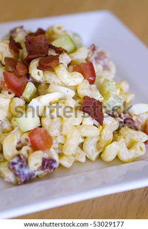 Bacon and Macaroni Salad - stock photo