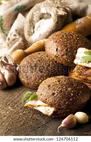 bacon and rye bread - stock photo