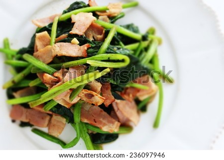 bacon and spinach sauteed