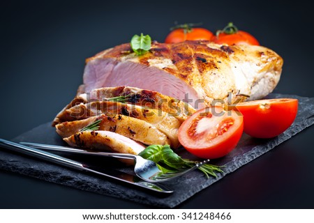 Bacon block boiled in low temperaturee, followed by roasting - stock photo