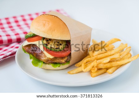 bacon burger with french fries - stock photo