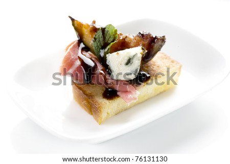 bacon, canapes, snacks, eggplant, cheese, sauce, restaurant, gourmet, - stock photo